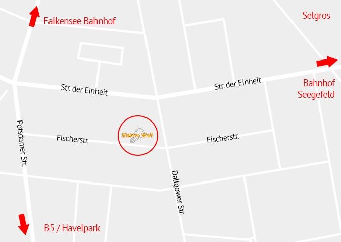 Elektro Wolf finden Sie in der Fischerstraße 29 in Falkensee